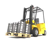 Forklift with pallete of beer kegs 3d illustration. Forklift with pallete of beer kegs on white background 3d illustration Stock Photo