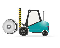 Forklift with paper roll clamp Stock Photo