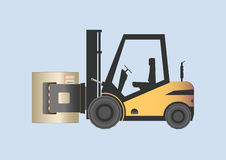 Forklift with paper roll clamp Stock Images