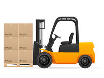 Forklift with pasteboard boxes Stock Photo