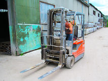 Forklift with paving slabs Royalty Free Stock Photo