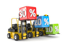 Forklift and percent boxes Royalty Free Stock Photography