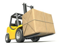 Forklift with post package Stock Photos