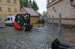 Forklift in prague centre Stock Images
