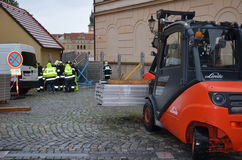 Forklift in prague centre Stock Images
