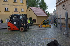 Forklift in prague centre Royalty Free Stock Photography