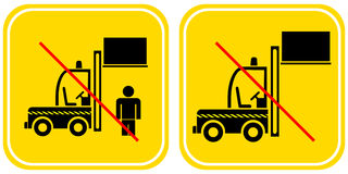 Forklift - prohibited sign Stock Photography