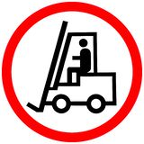 Forklift allowed prohibition red circle road sign stock images