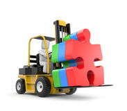 Forklift with puzzle. Business concept. Isolated on white Stock Image