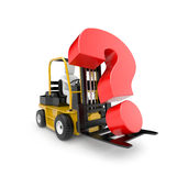 Forklift with question. Business concept. Isolated on white Stock Photo