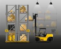 Forklift Realistic Composition. Forklift and loading realistic composition with warehouse and cargo symbols vector illustration Stock Images