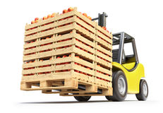 Forklift with red apples in wooden crates Stock Photography
