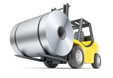 Forklift with rolls of steel sheet Stock Photography