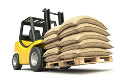 Forklift with sacks Stock Photography