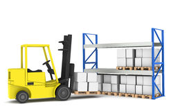 Forklift and shelves. Forklift loading Pallet Rack.Part of a Blue and yellow Warehouse and logistics series Royalty Free Stock Photos