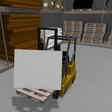 Forklift Sign. Forklift displaying a white sign that can be edited Royalty Free Stock Photo