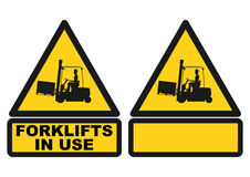 Forklift sign. Warning sign with the silhouette of a forklift truck. Vector Royalty Free Stock Images