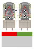 Forklift stability triangle. Safety tips. Plan view. Flat vector Royalty Free Stock Images
