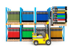 Forklift with Stack of Books Royalty Free Stock Photography