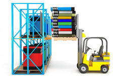 Forklift with Stack of Books Royalty Free Stock Photos