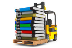 Forklift with Stack of Books Royalty Free Stock Images