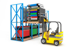Forklift with Stack of Books. On a white background Royalty Free Stock Photo