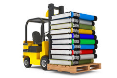 Forklift with Stack of Books. On a white background Stock Photography