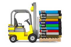 Forklift with Stack of Books Stock Photos