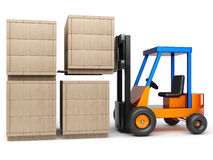 Forklift stack boxes. Forklift stack wooden boxes in pile on white background Stock Photo