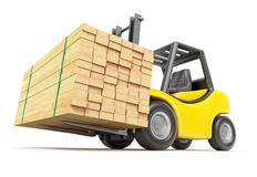 Forklift with stacked lumber. Yellow forklift with stacked lumber - 3D illustration Stock Photos