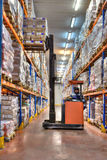 Forklift stacker working in very cold stores, cold storage ware Stock Image