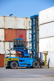 Forklift is stacking container Stock Photos