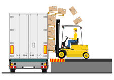 Forklift and trailer Stock Photo