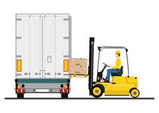Forklift and trailer Stock Image
