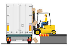 Forklift and trailer Stock Photos