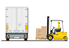 Forklift and trailer Royalty Free Stock Image