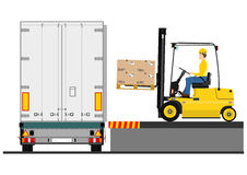 Forklift and trailer Stock Photography