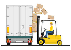 Forklift and trailer Stock Images