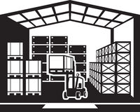 Forklift transports pallets in warehouse. Vector illustration Royalty Free Stock Photography