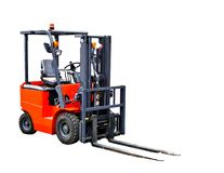 Forklift truck. A forklift truck isolated on white background stock image