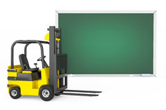 Forklift Truck with Blank Blackboard Stock Photos