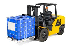 Forklift truck with blue intermediate bulk container, 3D renderi. Forklift truck with blue intermediate bulk container, 3D Royalty Free Stock Photo