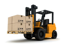 Forklift truck and box Royalty Free Stock Photo