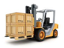 Forklift truck and box Royalty Free Stock Photos