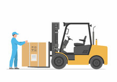 Forklift truck with box. Flat styled vector illustration Stock Photography