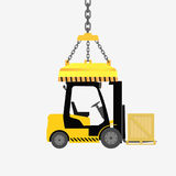forklift truck with box Stock Photo
