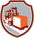Forklift Truck Box Shield Retro Royalty Free Stock Image