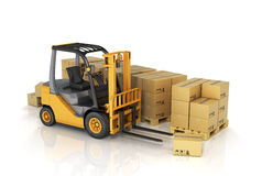 Forklift truck with boxes. Stock Photos