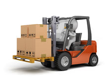 Forklift truck with boxes Stock Photos