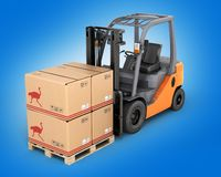Forklift truck with boxes  on pallet on blue gradient background 3d. Forklift truck with boxes on pallet on blue gradient background vector illustration
